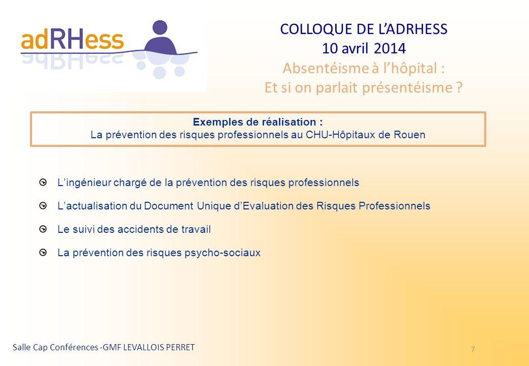 COLLOQUE DE LADRHESS 10 avril 2014 Absentéisme à lhôpital : Et si on parlait présentéisme ? Salle Cap Conférences -GMF LEVALLOIS PERRET 7 Exemples de