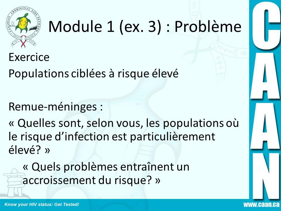 Module 1 (ex. 3) : Problème Exercice Populations ciblées à risque élevé Remue-méninges : « Quelles sont, selon vous, les populations où le risque dinf