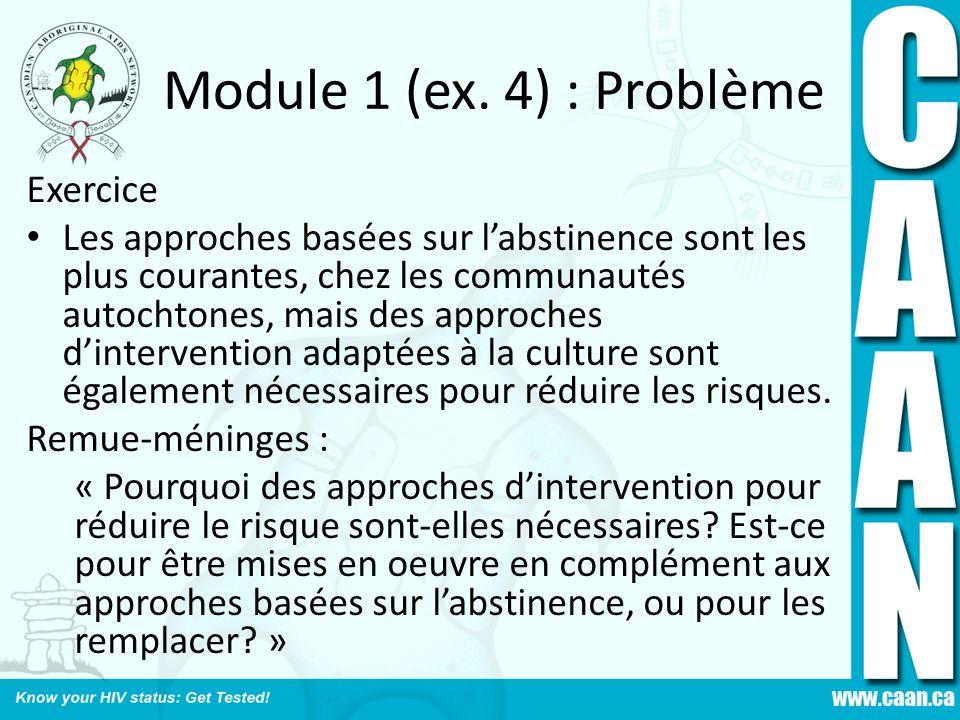 Module 1 (ex. 4) : Problème Exercice Les approches basées sur labstinence sont les plus courantes, chez les communautés autochtones, mais des approche