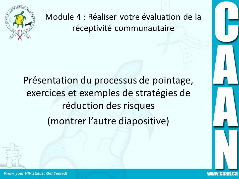 Module 4 : Réaliser votre évaluation de la réceptivité communautaire Présentation du processus de pointage, exercices et exemples de stratégies de réd