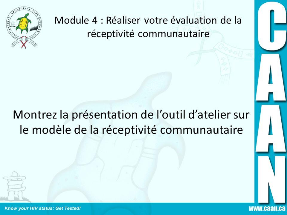 Module 4 : Réaliser votre évaluation de la réceptivité communautaire Montrez la présentation de loutil datelier sur le modèle de la réceptivité commun