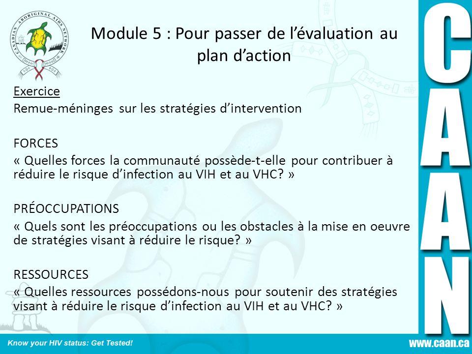 Module 5 : Pour passer de lévaluation au plan daction Exercice Remue-méninges sur les stratégies dintervention FORCES « Quelles forces la communauté p