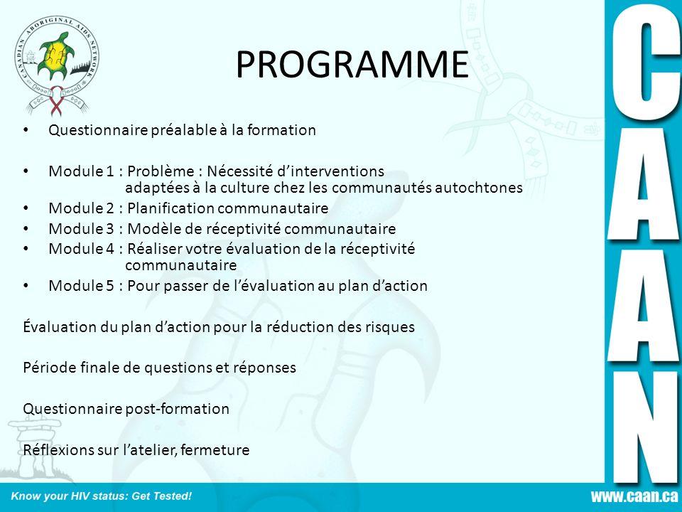 PROGRAMME Questionnaire préalable à la formation Module 1 : Problème : Nécessité dinterventions adaptées à la culture chez les communautés autochtones
