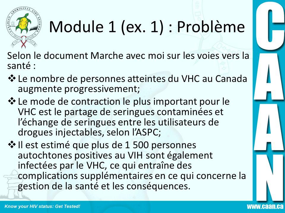 Module 1 (ex. 1) : Problème Selon le document Marche avec moi sur les voies vers la santé : Le nombre de personnes atteintes du VHC au Canada augmente