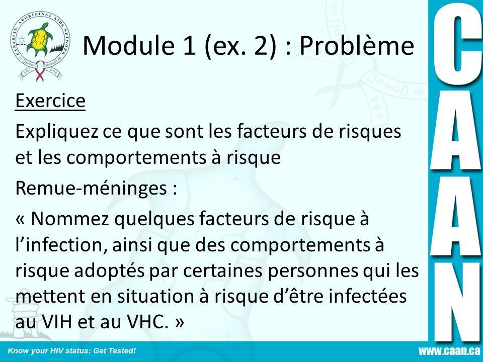 Module 1 (ex. 2) : Problème Exercice Expliquez ce que sont les facteurs de risques et les comportements à risque Remue-méninges : « Nommez quelques fa
