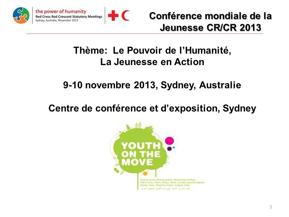 3 Thème: Le Pouvoir de lHumanité, La Jeunesse en Action 9-10 novembre 2013, Sydney, Australie Centre de conférence et dexposition, Sydney Conférence mondiale de la Jeunesse CR/CR 2013