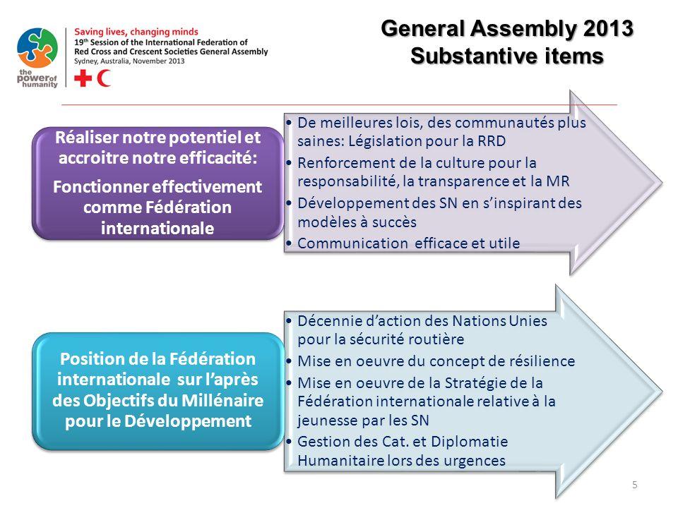 5 General Assembly 2013 Substantive items De meilleures lois, des communautés plus saines: Législation pour la RRD Renforcement de la culture pour la