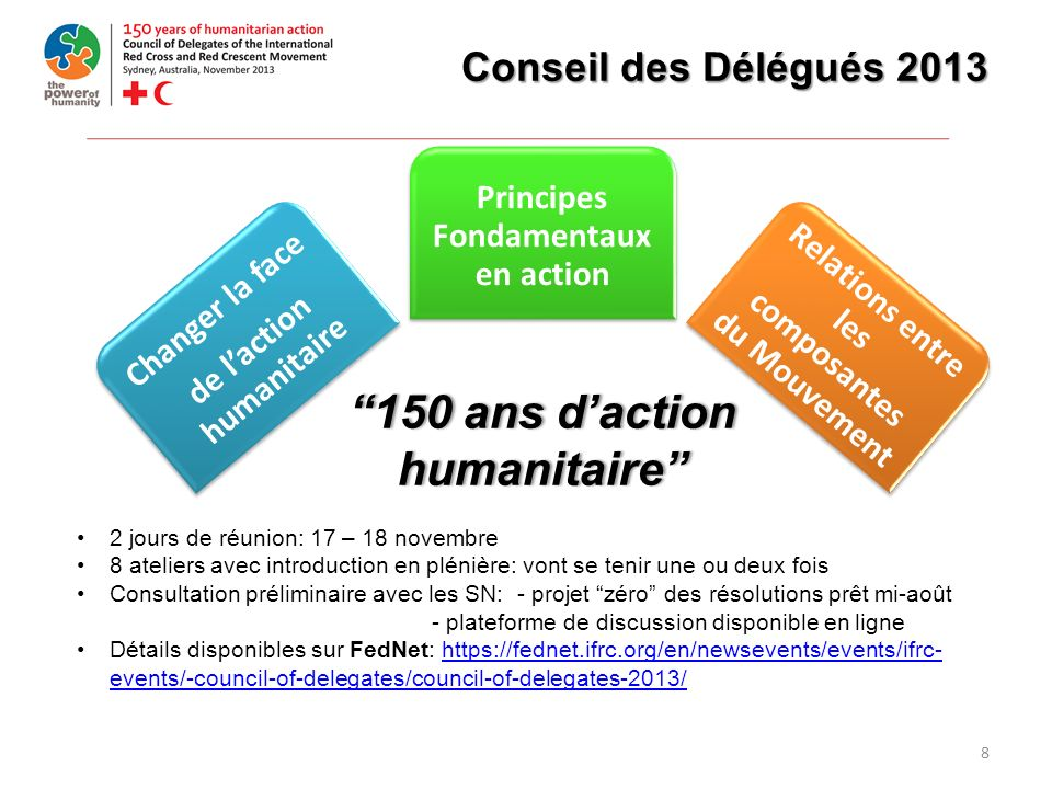 8 Conseil des Délégués 2013 Changer la face de laction humanitaire Principes Fondamentaux en action Relations entre les composantes du Mouvement 150 a