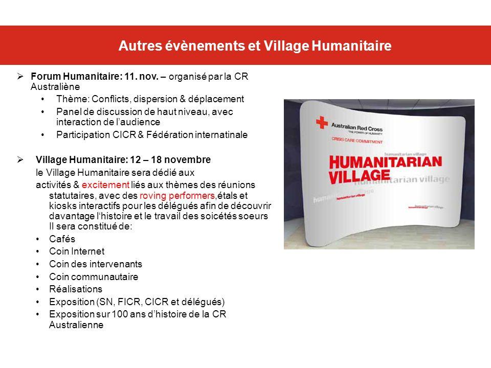 Autres évènements et Village Humanitaire Forum Humanitaire: 11. nov. – organisé par la CR Australiène Thème: Conflicts, dispersion & déplacement Panel