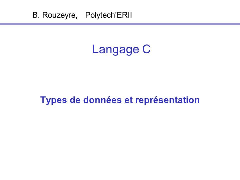 Types de données et représentation Langage C B. Rouzeyre, Polytech ERII
