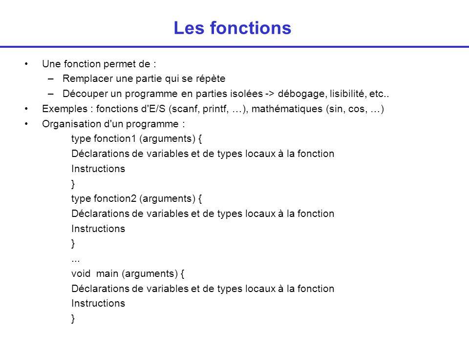 Exemple char minus_majus (char c1) { char c2; /* déclarations locales */ if (c1 >= a && c1 <= z ) c2 = c1+ A - a ; else c2=c1; return (c2); } void main() { char c,majuscule; printf( Donner un caractere\n ); c = getchar(); getchar(); majuscule = minus_majus(c); printf ( La majuscule de %c est %c\n ,c,majuscule); } Type de la valeur de retour Argument Instructions Appel de la fonction Valeur renvoyée