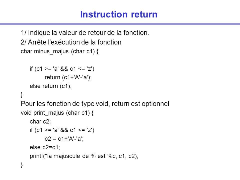 Instruction return 1/ Indique la valeur de retour de la fonction.
