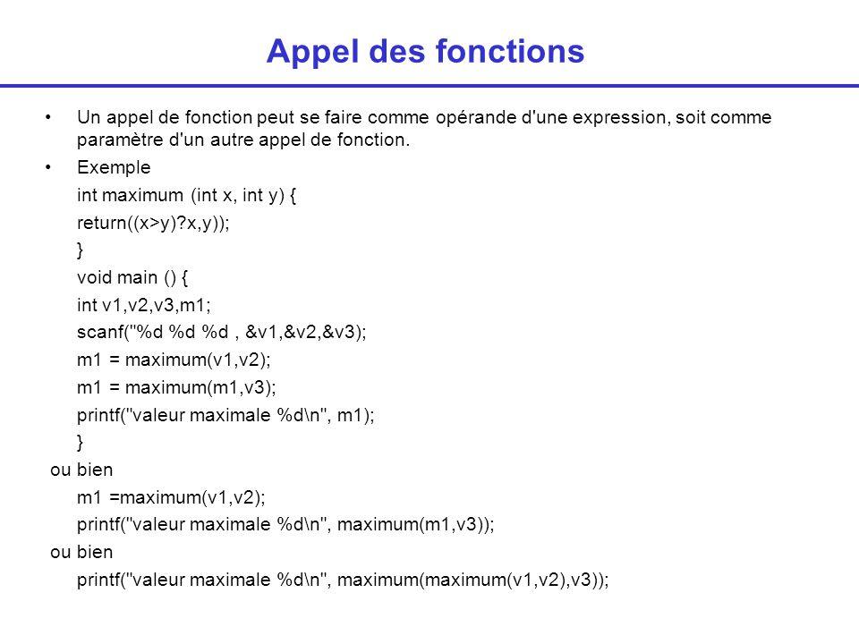 Appel des fonctions Un appel de fonction peut se faire comme opérande d une expression, soit comme paramètre d un autre appel de fonction.