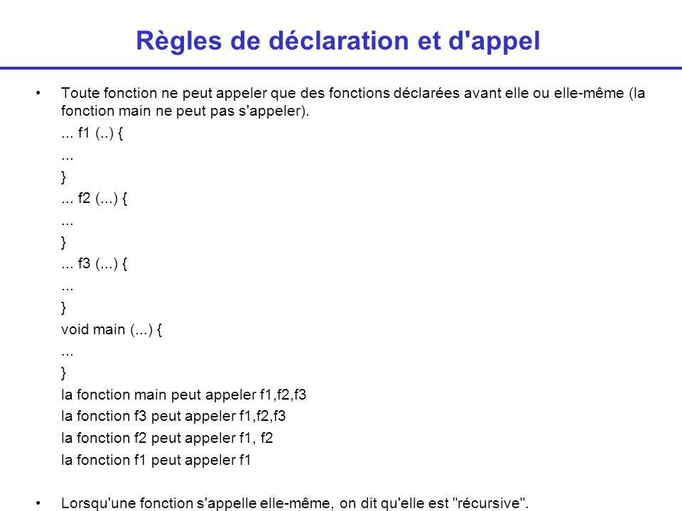 Déclarations en avance Règle précédente contraignante Solution : Prototype En début de programme on donne le type de chaque fonction, son nom, le nombre et les types des arguments Information suffisante pour le compilateur.