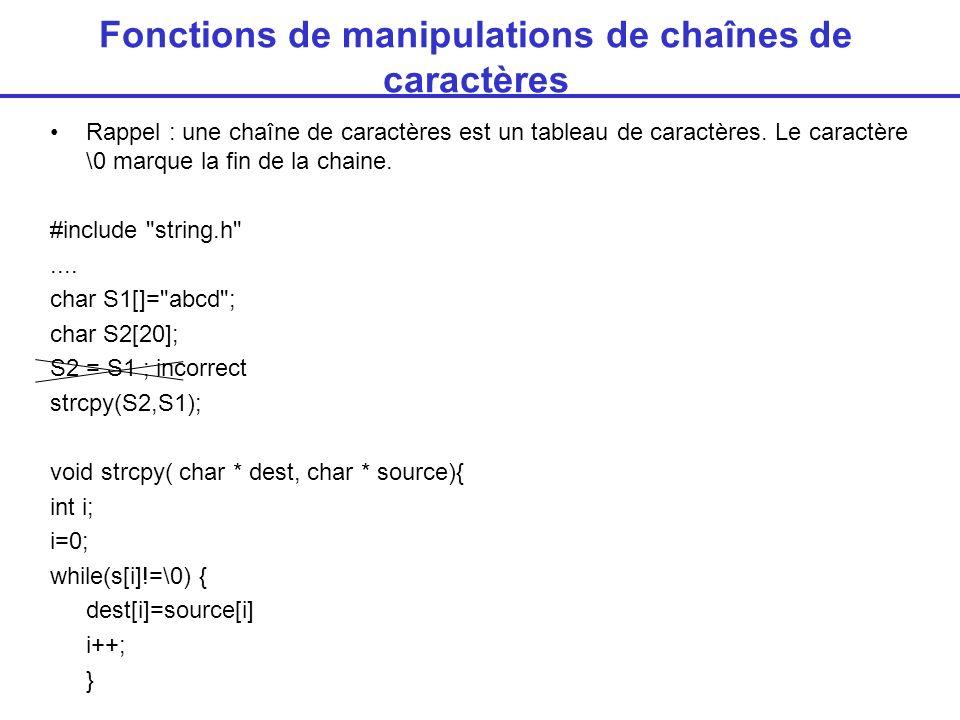 Fonctions de manipulations de chaînes de caractères Rappel : une chaîne de caractères est un tableau de caractères. Le caractère \0 marque la fin de l