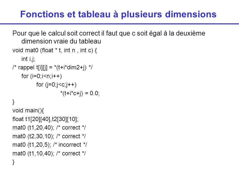 Fonctions et tableau à plusieurs dimensions Solution : passer la deuxième dimension en paramètre void mat0 (float * t, int n, int c, int dim2) { int i,j; /* rappel t[i][j] = *(t+i*dim2+j) */ for (i=0;i<n;i++) for (j=0;j<c;j++) *(t+i*dim2+j) = 0.0; } void main(){ float t1[20][40],t2[30][10]; mat0 (t1,20,40,40); // correct mieux: mat0 (&t1[0][0],…) mat0 (t2,30,10,10); // correct mat0 (t1,20,5,40); // correct mat0 (t1,10,20,40); // correct }