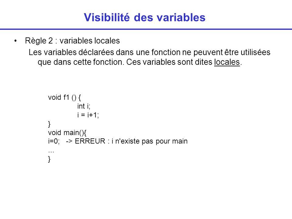 Visibilité des variables Règle 3 : arguments = variables locales Les arguments d une fonction sont des variables locales de la fonction.