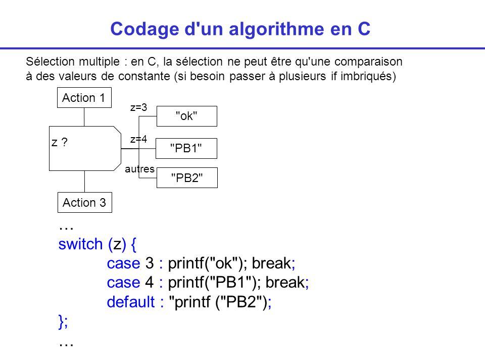 Sélection multiple : en C, la sélection ne peut être qu une comparaison à des valeurs de constante (si besoin passer à plusieurs if imbriqués) Codage d un algorithme en C … switch (z) { case 3 : printf( ok ); break; case 4 : printf( PB1 ); break; default : printf ( PB2 ); }; … z .