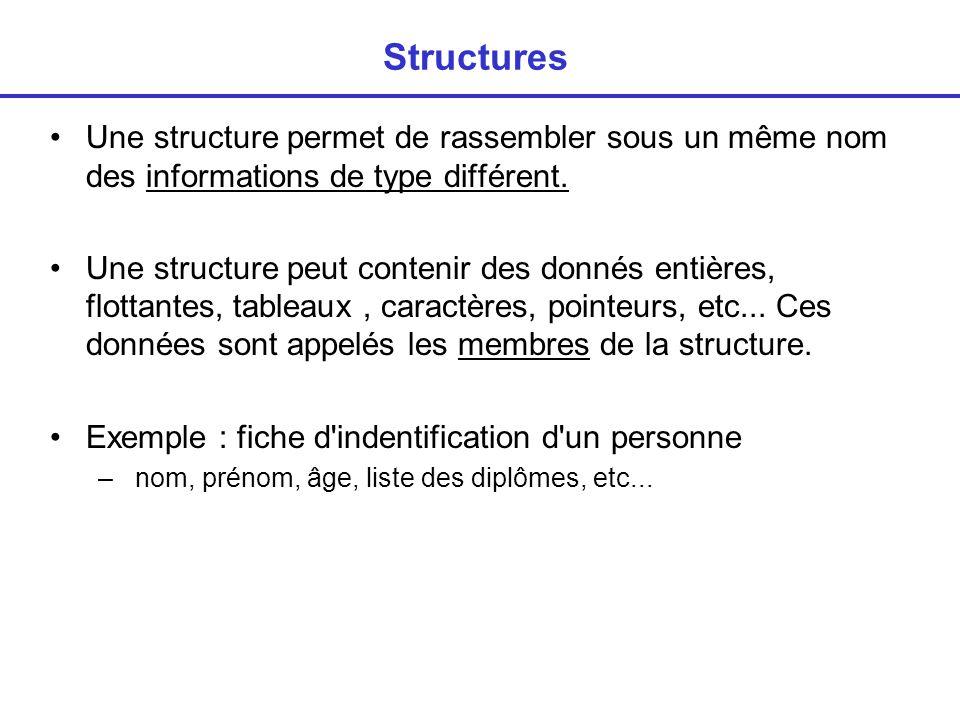 Définition d une structure Déclaration d une structure : syntaxe Exemple : compte bancaire struct nomdelastructure { typemembre1 nommembre1 ; typemembre2 nommembre2 ; … typemembren nommembren ; } struct compte { int no_compte ; char etat ; char nom[80]; float solde; }; struct compte a,b,c; /*déclaration de 3 variables de ce type*/