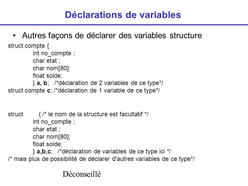Déclarations de variables Autres façons de déclarer des variables structure struct compte { int no_compte ; char etat ; char nom[80]; float solde; } a, b; /*déclaration de 2 variables de ce type*/ struct compte c; /*déclaration de 1 variable de ce type*/ struct { /* le nom de la structure est facultatif */ int no_compte ; char etat ; char nom[80]; float solde; } a,b,c; /*déclaration de variables de ce type ici */ /* mais plus de possibilité de déclarer d autres variables de ce type*/ Déconseillé
