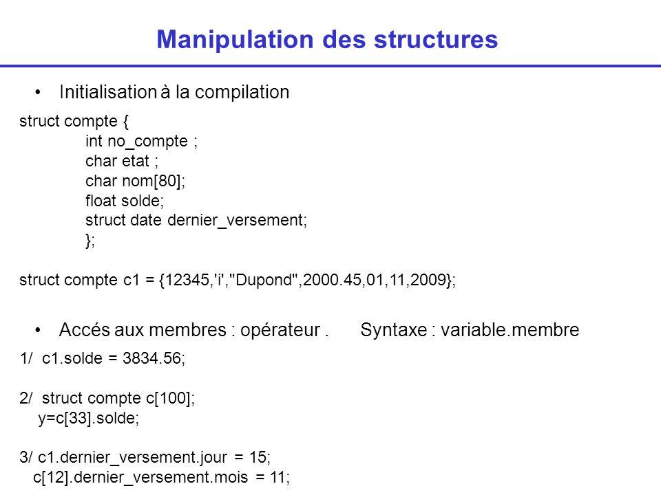 Manipulation des structures Sur les structures elles-mêmes –Affectation : –Pas de comparaison => comparer chaque membre c[4] = c1