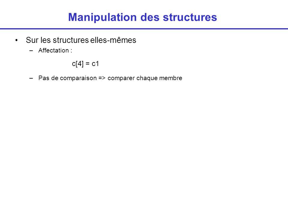 Structures et pointeurs L adresse de début d une structure s obtient à l aide de l opérateur & c1 est de type cpt, pc est un pointeur sur une variable de type cpt Accés au membres à partir du pointeur Opérateur -> typedef struct { int no_compte ; char etat ; char nom[80]; float solde; struct date dernier_versement; } cpt ; cpt c1, * pc; pc = &c1; *pc.no-compte =...