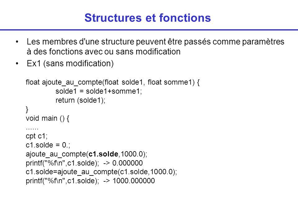 Structures et fonctions Les membres d une structure peuvent être passés comme paramètres à des fonctions avec ou sans modification Ex1 (sans modification) float ajoute_au_compte(float solde1, float somme1) { solde1 = solde1+somme1; return (solde1); } void main () {......