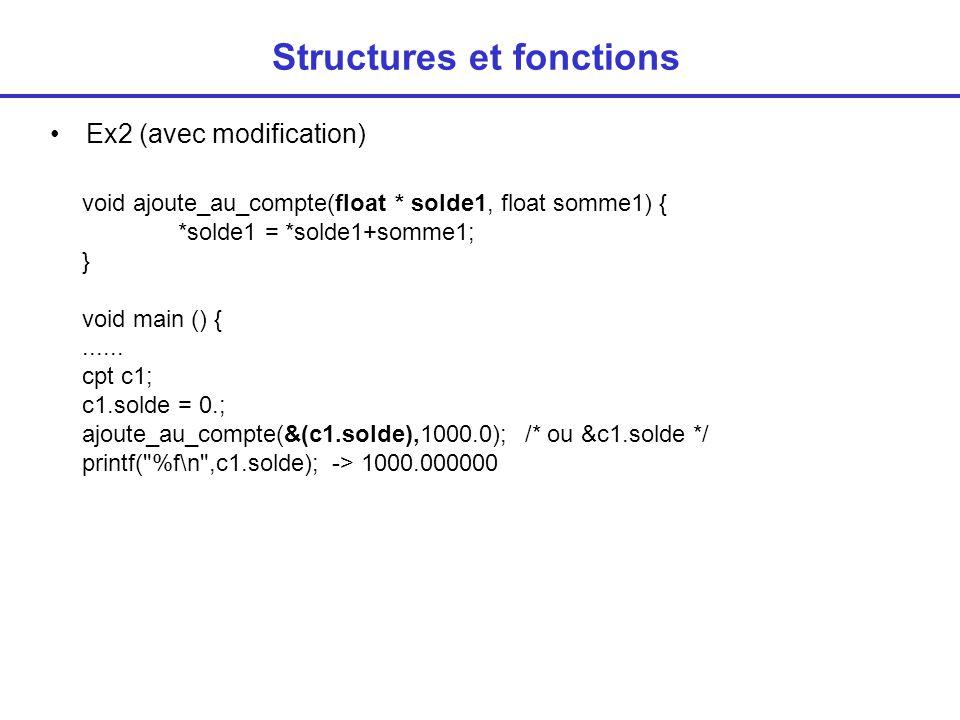 Structures et fonctions Un argument de fonction peut-être de type structure Ou pointeur sur structure float ajoute_au_compte(cpt c, float somme1) { return(c.solde+somme1); } void main () { cpt c1; c1.solde = ajoute_au_compte(c1,1000.0); printf( %f\n ,c1.solde); -> 1000.000000 void ajoute_au_compte (cpt * c, float somme1) { c->solde = c->solde + somme1; } void main () { cpt c1; ajoute_au_compte(&c1,1000.0); printf( %f\n ,c1.solde); -> 1000.000000
