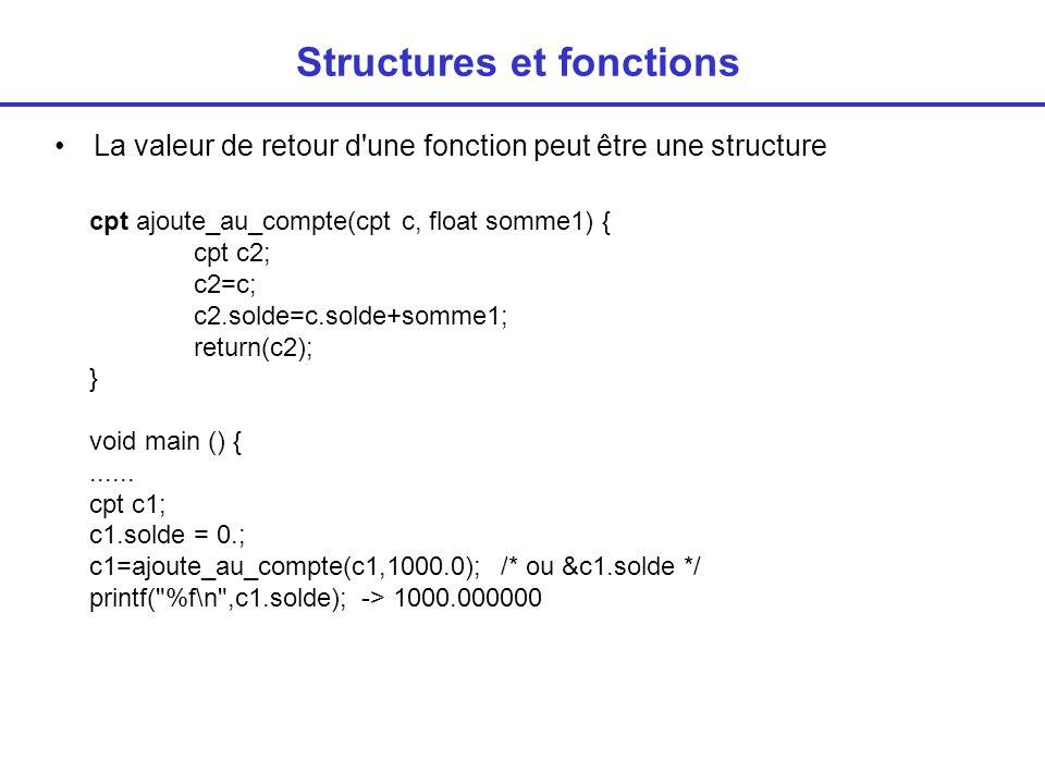 Structures et fonctions La valeur de retour d une fonction peut être une structure cpt ajoute_au_compte(cpt c, float somme1) { cpt c2; c2=c; c2.solde=c.solde+somme1; return(c2); } void main () {......