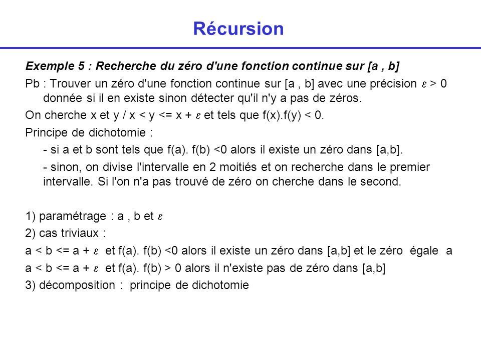 Récursion int zero (float a, float b, float epsilon, float * x) { / * retourne 0 si il n existe pas de zero dans l intervalle a, b; 1 sinon */ int trouve; if ( b-a <= epsilon) if (f(a) * f(b) < 0 ) { *x = a; return (1); }; else return (0); else { trouve = zero (a,(a+b)/2,epsilon,x); if (trouve) return(1); else return(zero ((a+b)/2,b,epsilon,x)); }