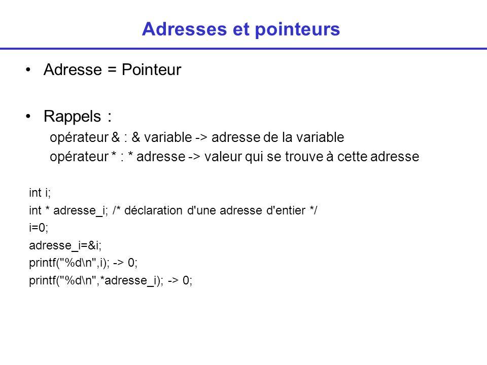 Adresses et pointeurs Adresse = Pointeur Rappels : opérateur & : & variable -> adresse de la variable opérateur * : * adresse -> valeur qui se trouve à cette adresse int i; int * adresse_i; /* déclaration d une adresse d entier */ i=0; adresse_i=&i; printf( %d\n ,i); -> 0; printf( %d\n ,*adresse_i); -> 0;