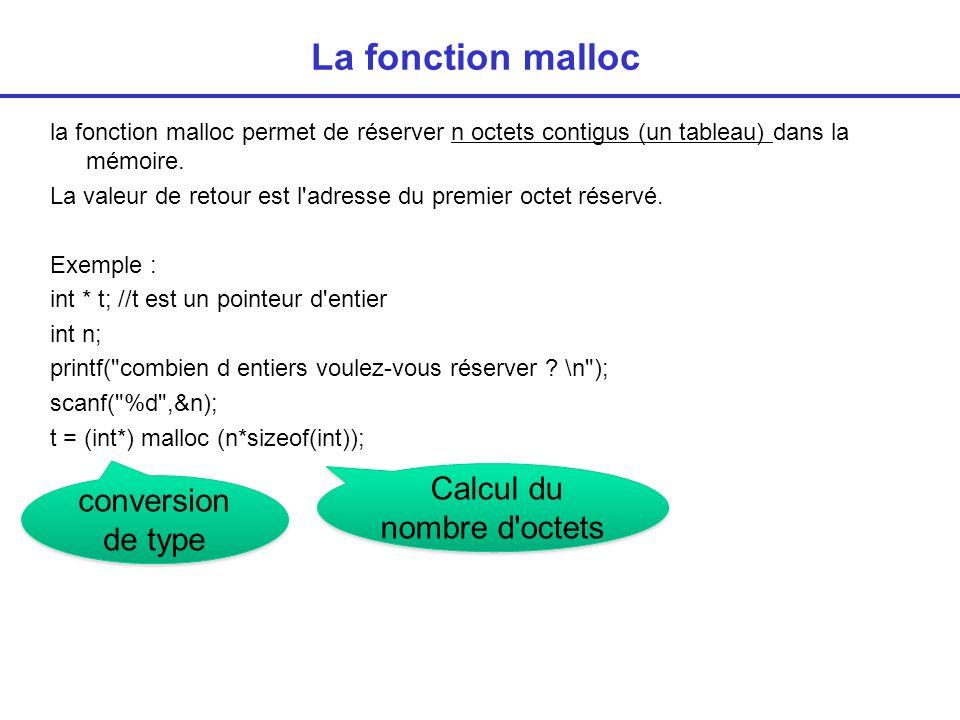 La fonction malloc Exemple : int * t; //t est un pointeur d entier int n; ….