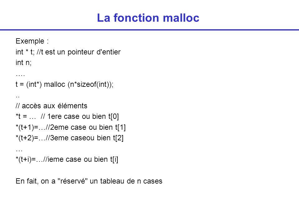 La fonction malloc Prototype void * malloc (int n) ; nombre d octets type de pointeur