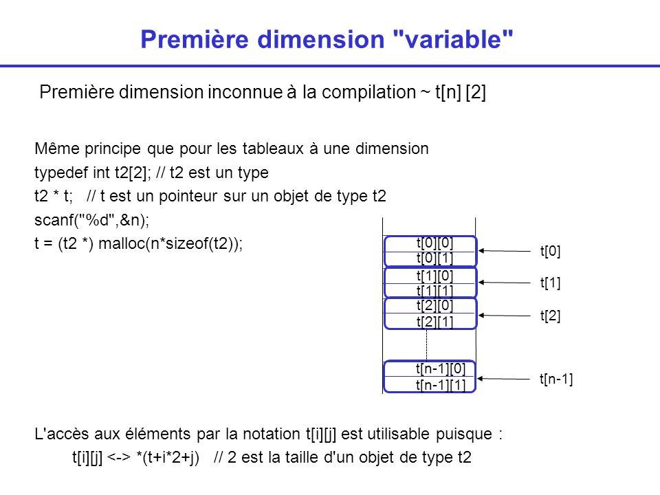 Deuxième dimension variable Deuxième dimension inconnue ~ t[4] [n] Principe : on utilise en fait un tableau de pointeurs int * t[4]; // t est tableau de 4 pointeurs Création du tableau : scanf( %d ,&n); for (i=0;i<4;i++) t[i] = (int *) malloc(n*sizeof(int)); t[1] t[0] t[2] t[3]