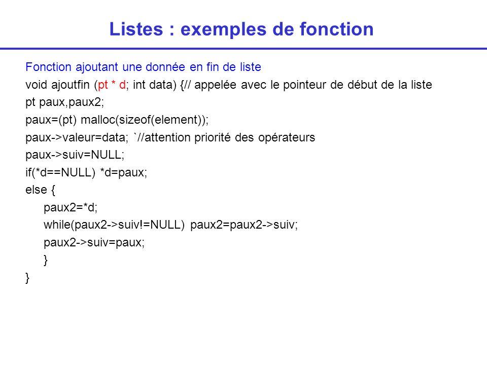Listes : exemples de fonction Fonction retournant l adresse d une donnée présente dans la liste pt adresse1(pt d; int data) { // doit être appelée avec le pointeur de début de la liste while(d->valeur!=data) d=d->suiv; return(d); } Fonction retournant l adresse d une donnée dont on ne sait si elle est présente ou pas dans la liste (dans ce cas, la fonction renvoie NULL) pt adresse2(pt d; int data) { // doit être appelée avec le pointeur de début de la liste while(d!=NULL) if(d->valeur==data) return(d); return(NULL); }