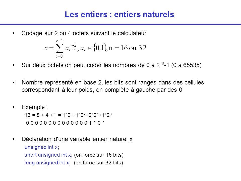 Les entiers : entiers naturels Codage sur 2 ou 4 octets suivant le calculateur Sur deux octets on peut coder les nombres de 0 à 2 16 -1 (0 à 65535) Nombre représenté en base 2, les bits sont rangés dans des cellules correspondant à leur poids, on complète à gauche par des 0 Exemple : 13 = 8 + 4 +1 = 1*2 3 +1*2 2 +0*2 1 +1*2 0 0 0 0 0 0 0 0 0 0 0 0 0 0 0 1 1 0 1 Déclaration d une variable entier naturel x unsigned int x; short unsigned int x; (on force sur 16 bits) long unsigned int x; (on force sur 32 bits)