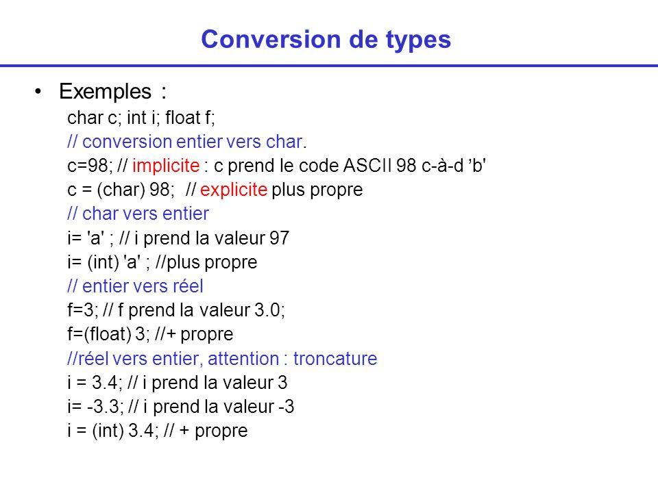Conversion de types : application Passer au caractère suivant char c; c = a ; c = c+1; // calcul fait en entier puis résultat converti en char c = (char) ((int) c+1) ; //+ propre Conversions majuscule minuscule char c; c= t ; // conversion en Majuscule c=c-32; // c contient T ou mieux c=c-( a - A ); c=c+1; // c contient U // conversion en minuscule c=c+32; ou c=c+( a - A ) // conversion en Majuscule if ((c >= a ) && (c <= z )) c = c-( a - A );