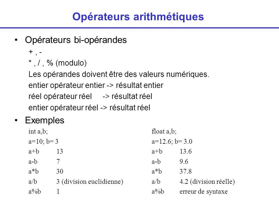 Opérateurs arithmétiques Opérateurs bi-opérandes +, - *, /, % (modulo) Les opérandes doivent être des valeurs numériques.