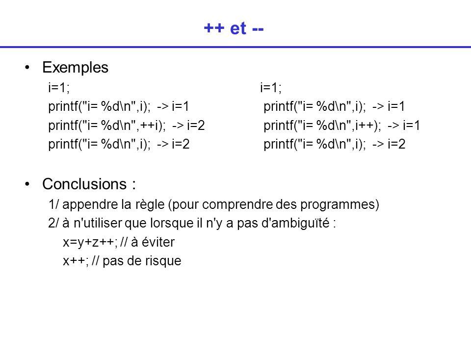 ++ et -- Exemplesi=1; printf( i= %d\n ,i); -> i=1 printf( i= %d\n ,++i); -> i=2 printf( i= %d\n ,i++); -> i=1 printf( i= %d\n ,i); -> i=2 Conclusions : 1/ appendre la règle (pour comprendre des programmes) 2/ à n utiliser que lorsque il n y a pas d ambiguïté : x=y+z++; // à éviter x++; // pas de risque