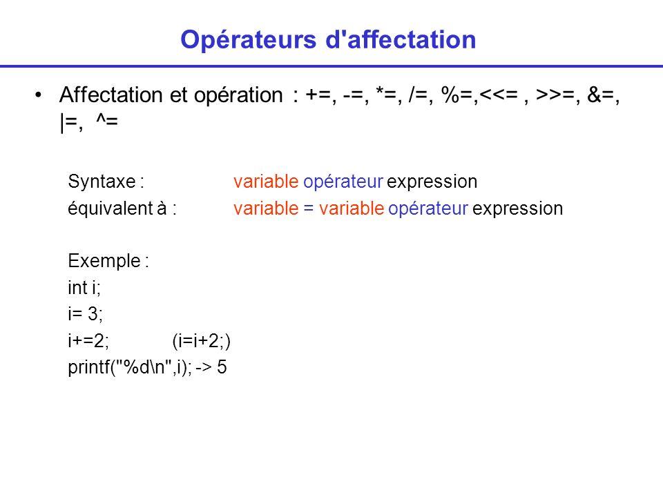 Opérateurs d affectation Affectation et opération : +=, -=, *=, /=, %=, >=, &=,  =, ^= Syntaxe : variable opérateur expression équivalent à : variable = variable opérateur expression Exemple : int i; i= 3; i+=2; (i=i+2;) printf( %d\n ,i); -> 5