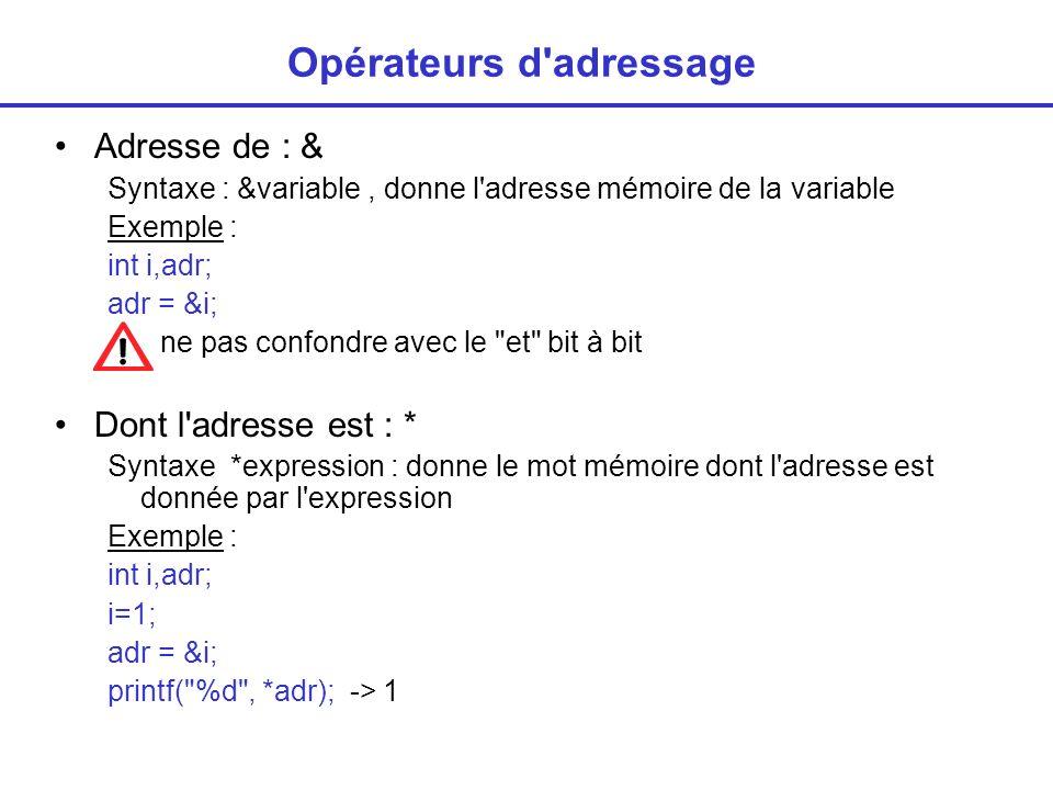 Opérateurs d'adressage Adresse de : & Syntaxe : &variable, donne l'adresse mémoire de la variable Exemple : int i,adr; adr = &i; ne pas confondre avec