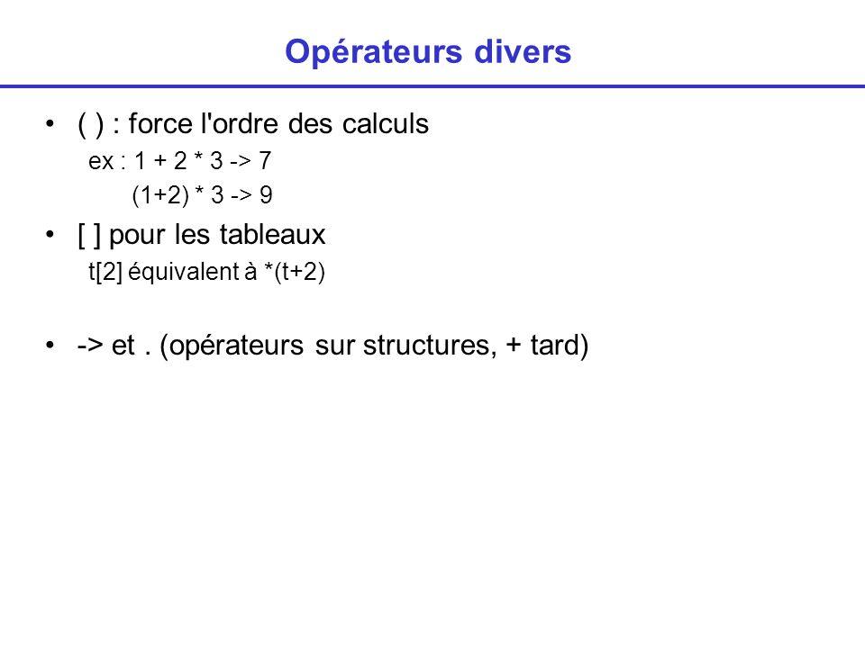 Opérateurs divers ( ) : force l ordre des calculs ex : 1 + 2 * 3 -> 7 (1+2) * 3 -> 9 [ ] pour les tableaux t[2] équivalent à *(t+2) -> et.