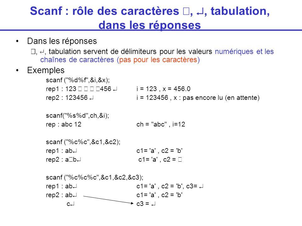 Scanf : rôle des caractères,, tabulation, dans les réponses Dans les réponses,, tabulation servent de délimiteurs pour les valeurs numériques et les chaînes de caractères (pas pour les caractères) Exemples scanf ( %d%f ,&i,&x); rep1 : 123 456 i = 123, x = 456.0 rep2 : 123456 i = 123456, x : pas encore lu (en attente) scanf( %s%d ,ch,&i); rep : abc 12ch = abc , i=12 scanf ( %c%c ,&c1,&c2); rep1 : ab c1= a , c2 = b rep2 : a b c1= a , c2 = scanf ( %c%c%c ,&c1,&c2,&c3); rep1 : ab c1= a , c2 = b , c3= rep2 : ab c1= a , c2 = b c c3 =