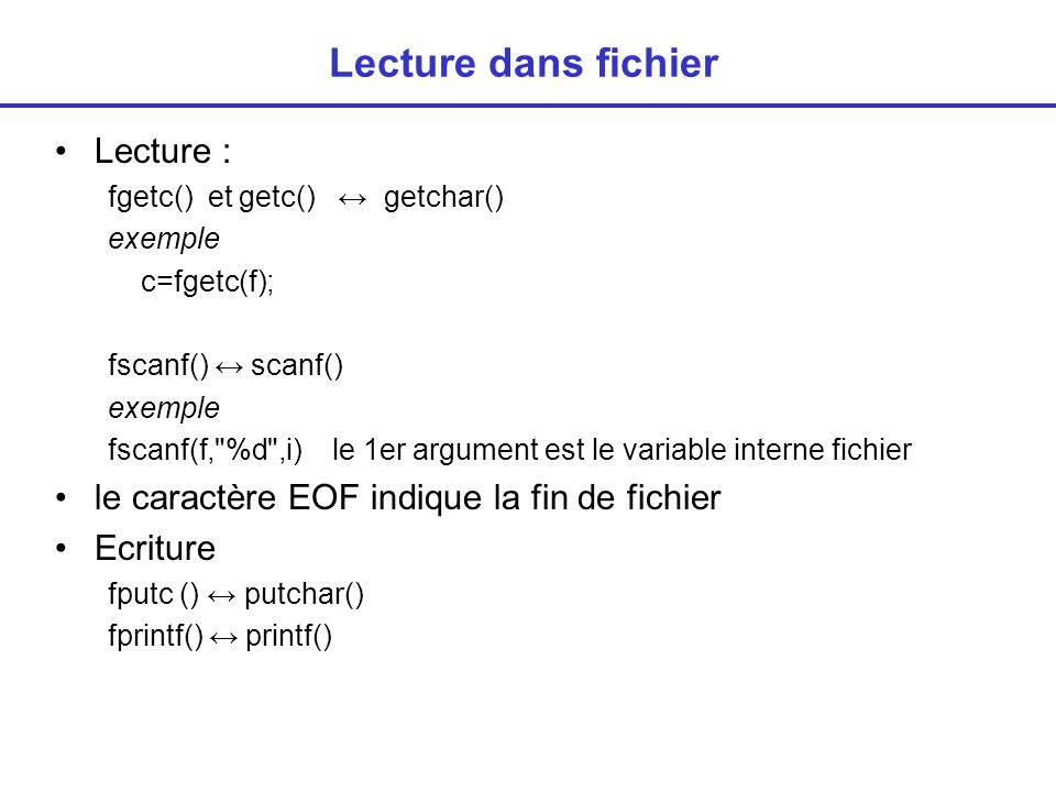 Exercice Afficher à l écran le contenu d un fichier (idem commande type) main() { FILE * monfichier; char sur_disque[100]; char c; /* acquisition du nom */ scanf( %s ,sur_disque); /*ouverture*/ monfichier=fopen(sur_disque, r ); if (monfichier==NULL) printf( erreur\n ); else{ // lecture affichage while ((c=getc(monfichier))!=EOF) printf( %c ,c); fclose (monfichier); }