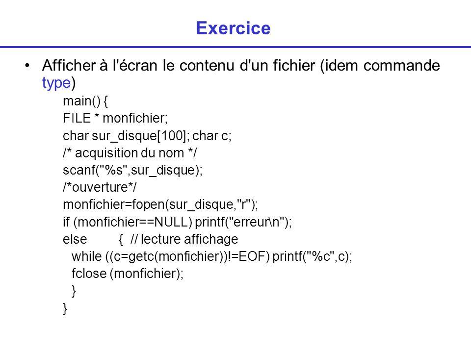 Lecture/ecriture dans chaines de caractères sprintf (char * s, format, paramètres) = écriture dans la chaine s sscanf (char * s, format, paramètres) = lecture dans la chaine s exemple char tokenstring[] = 15 12 14...