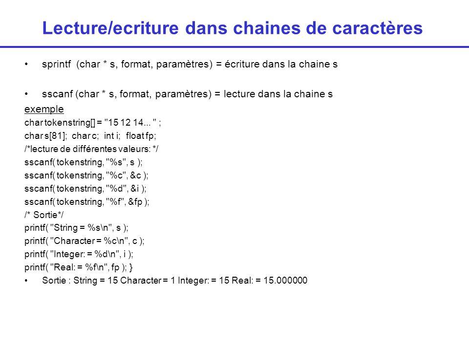 Lecture/écriture dans chaines de caractères Exercice : 1/ reporter dans une chaine de caractères un tableau dentiers.