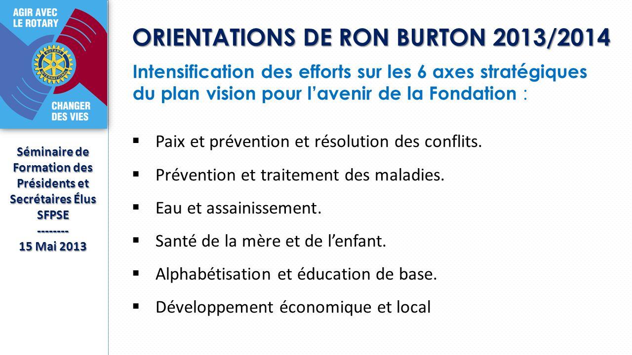 ORIENTATIONS DE RON BURTON 2013/2014 Séminaire de Formation des Présidents et Secrétaires Élus SFPSE-------- 15 Mai 2013 Intensification des efforts s