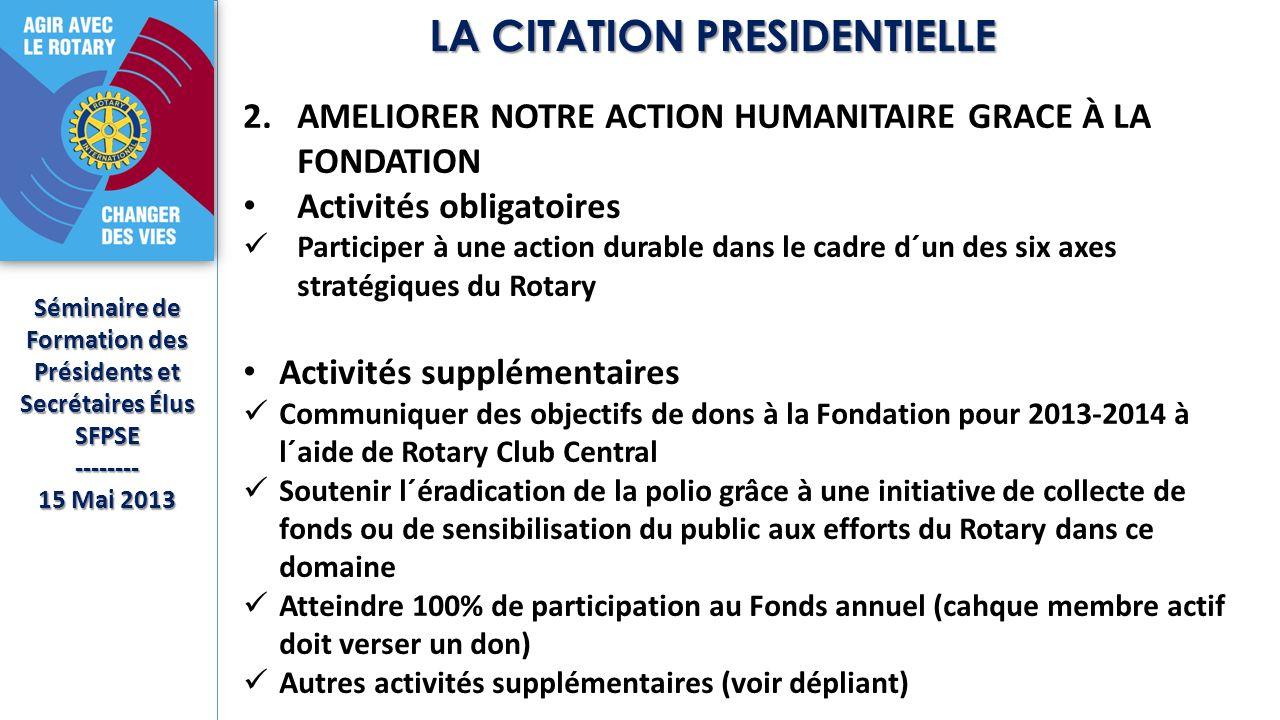 Séminaire de Formation des Présidents et Secrétaires Élus SFPSE-------- 15 Mai 2013 LA CITATION PRESIDENTIELLE 2.AMELIORER NOTRE ACTION HUMANITAIRE GRACE À LA FONDATION Activités obligatoires Participer à une action durable dans le cadre d´un des six axes stratégiques du Rotary Activités supplémentaires Communiquer des objectifs de dons à la Fondation pour 2013-2014 à l´aide de Rotary Club Central Soutenir l´éradication de la polio grâce à une initiative de collecte de fonds ou de sensibilisation du public aux efforts du Rotary dans ce domaine Atteindre 100% de participation au Fonds annuel (cahque membre actif doit verser un don) Autres activités supplémentaires (voir dépliant)