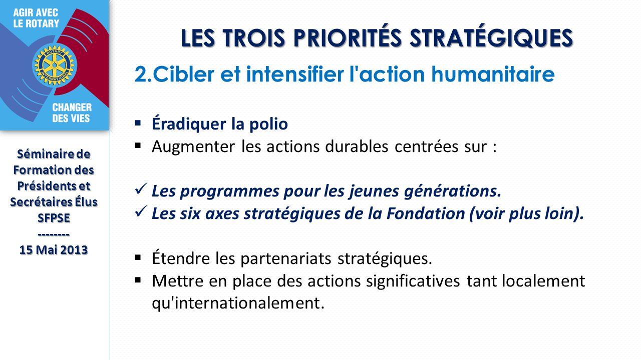 LES TROIS PRIORITÉS STRATÉGIQUES Séminaire de Formation des Présidents et Secrétaires Élus SFPSE-------- 15 Mai 2013 2.Cibler et intensifier l action humanitaire Éradiquer la polio Augmenter les actions durables centrées sur : Les programmes pour les jeunes générations.