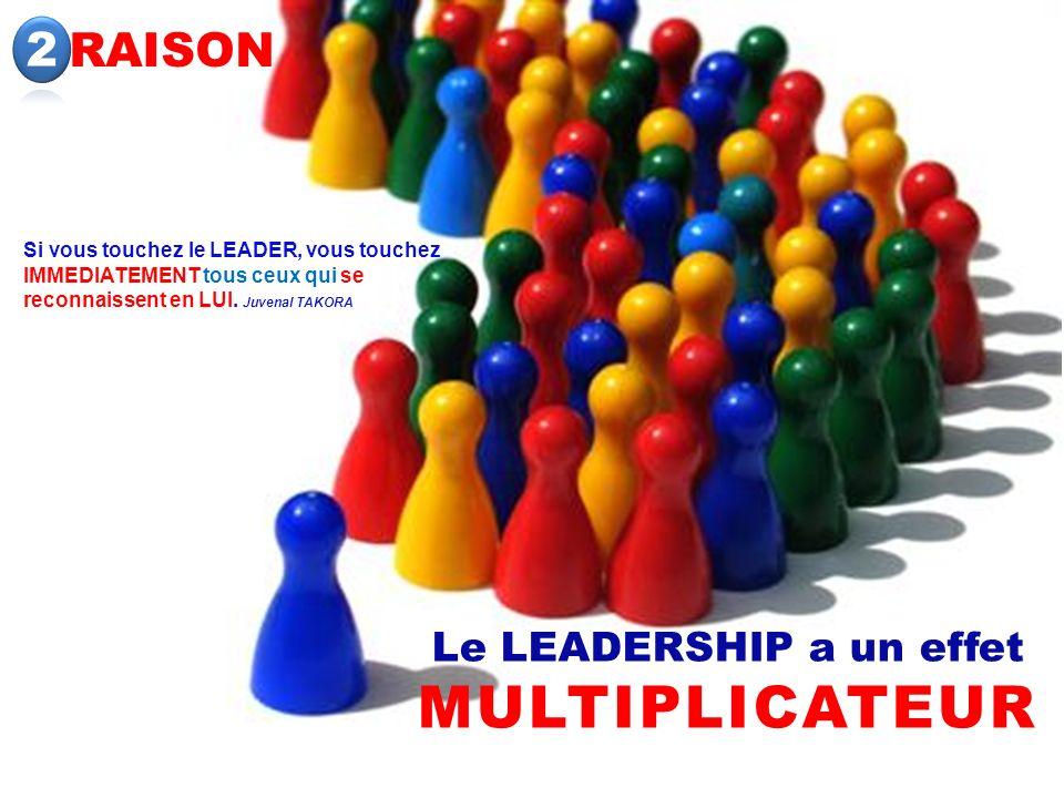RAISON Le LEADERSHIP a un effet MULTIPLICATEUR Si vous touchez le LEADER, vous touchez IMMEDIATEMENT tous ceux qui se reconnaissent en LUI. Juvenal TA